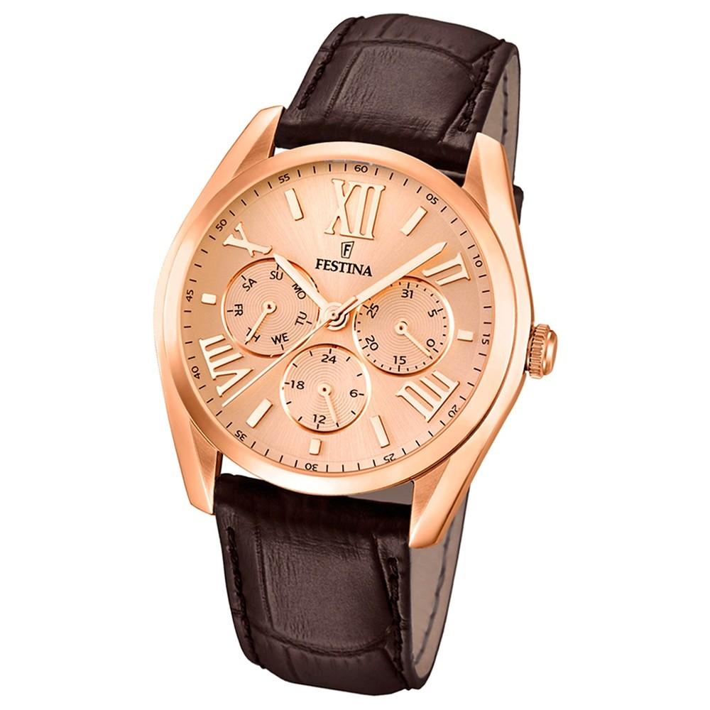 FESTINA Herren-Armbanduhr Klassik Multifunktion analog Quarz Leder UF16754/2