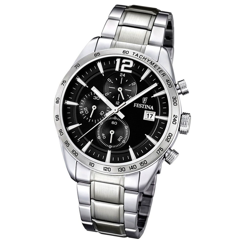 FESTINA Herren-Uhr Sport Chronograph Quarz schwarz Edelstahlband UF16759/4