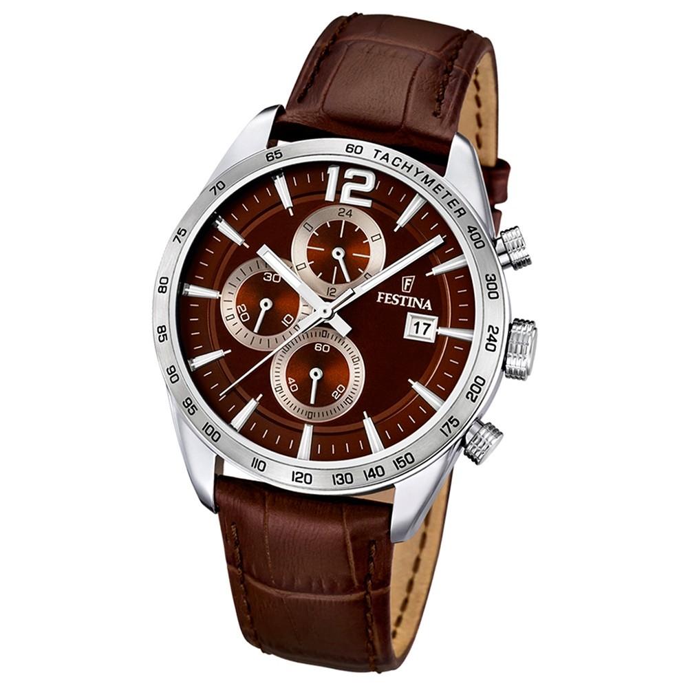 FESTINA Herrenuhr Chronograph analog Quarz braun Lederband Sport Uhren UF16760/2