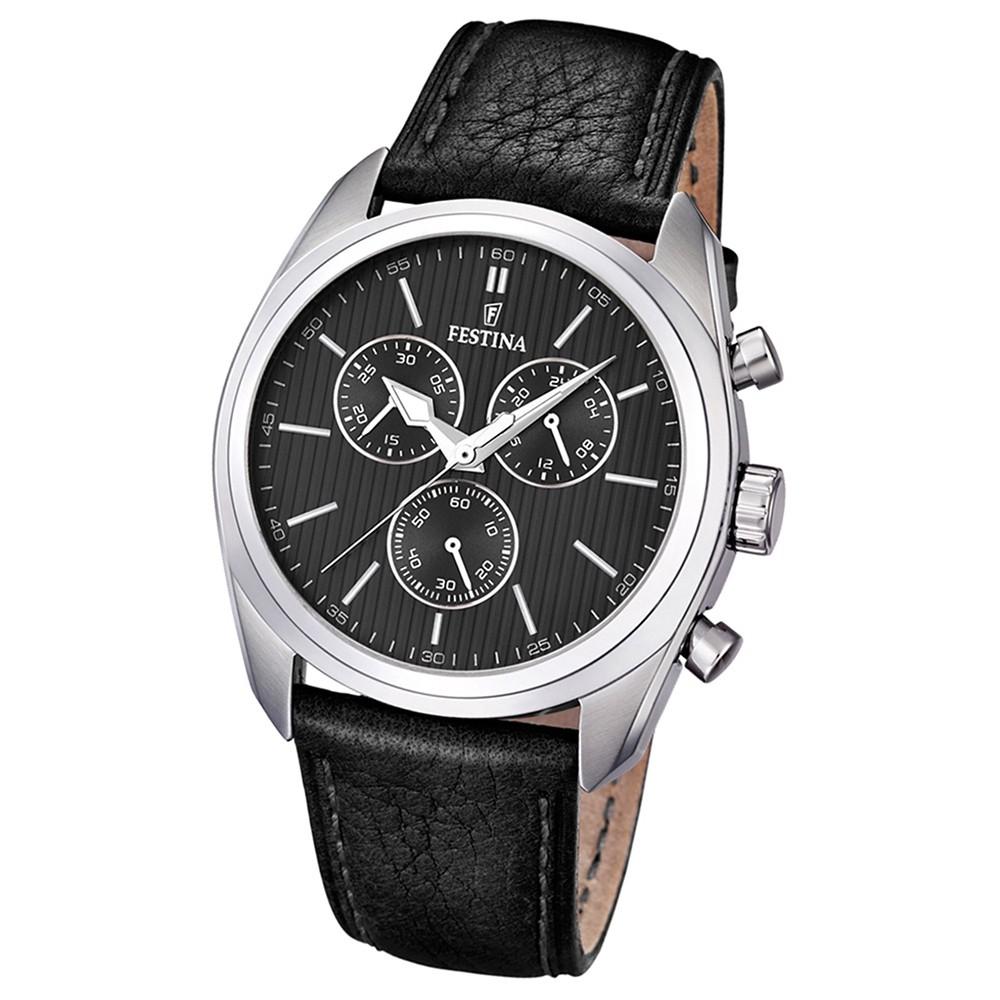 FESTINA Herren-Armbanduhr Sport Chronograph analog Quarz Leder UF16779/4