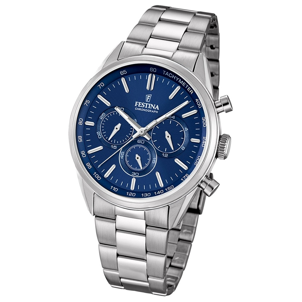 FESTINA Herren-Armbanduhr Timeless Chronograph Quarz Edelstahl silber UF16820/2