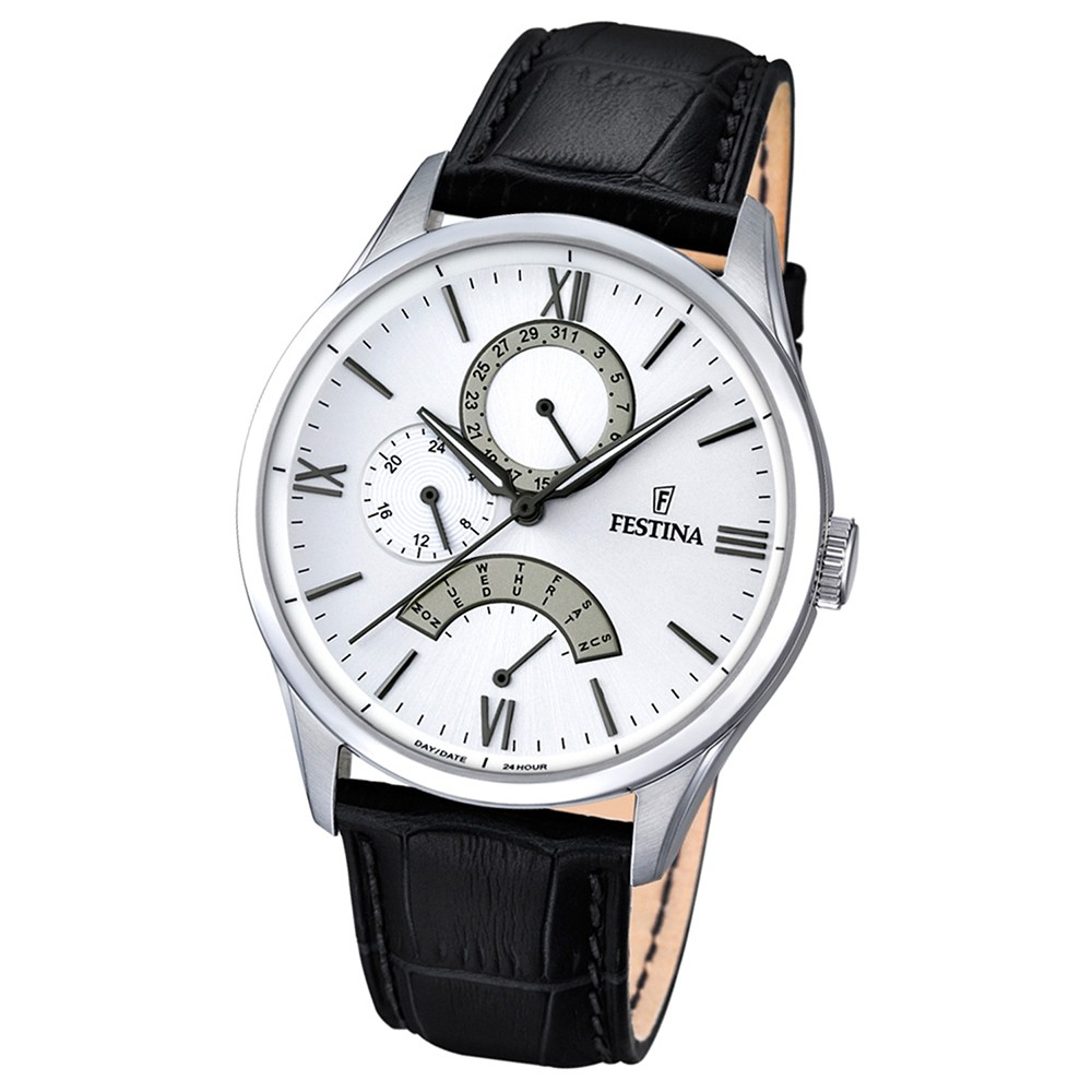 FESTINA Herren-Armbanduhr Retrograde Analog Quarz Leder schwarz UF16823/1