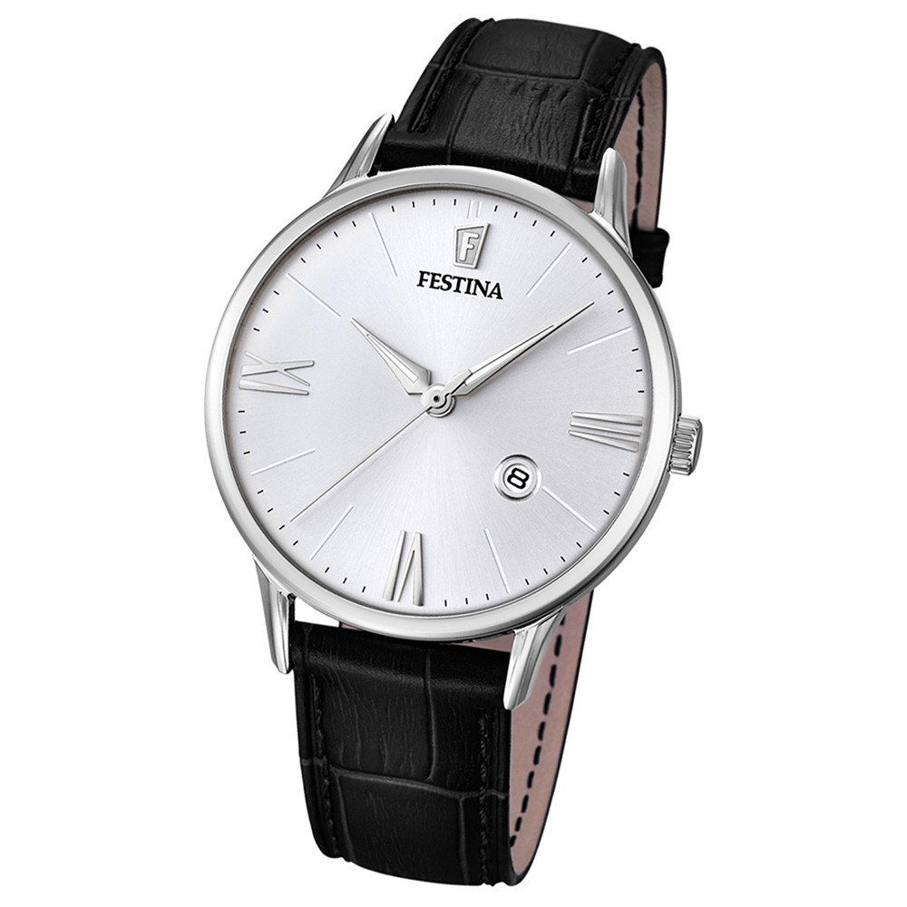FESTINA Herren-Armbanduhr Klassik Analog Quarz Leder schwarz UF16824/1