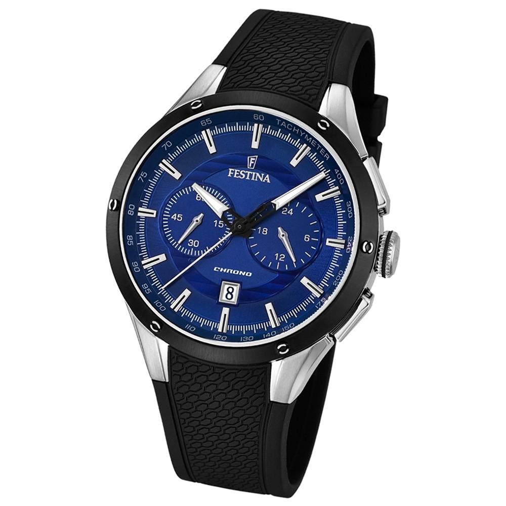 FESTINA Herren-Armbanduhr Chronograph Sport Analog Quarz PU schwarz UF16830/1