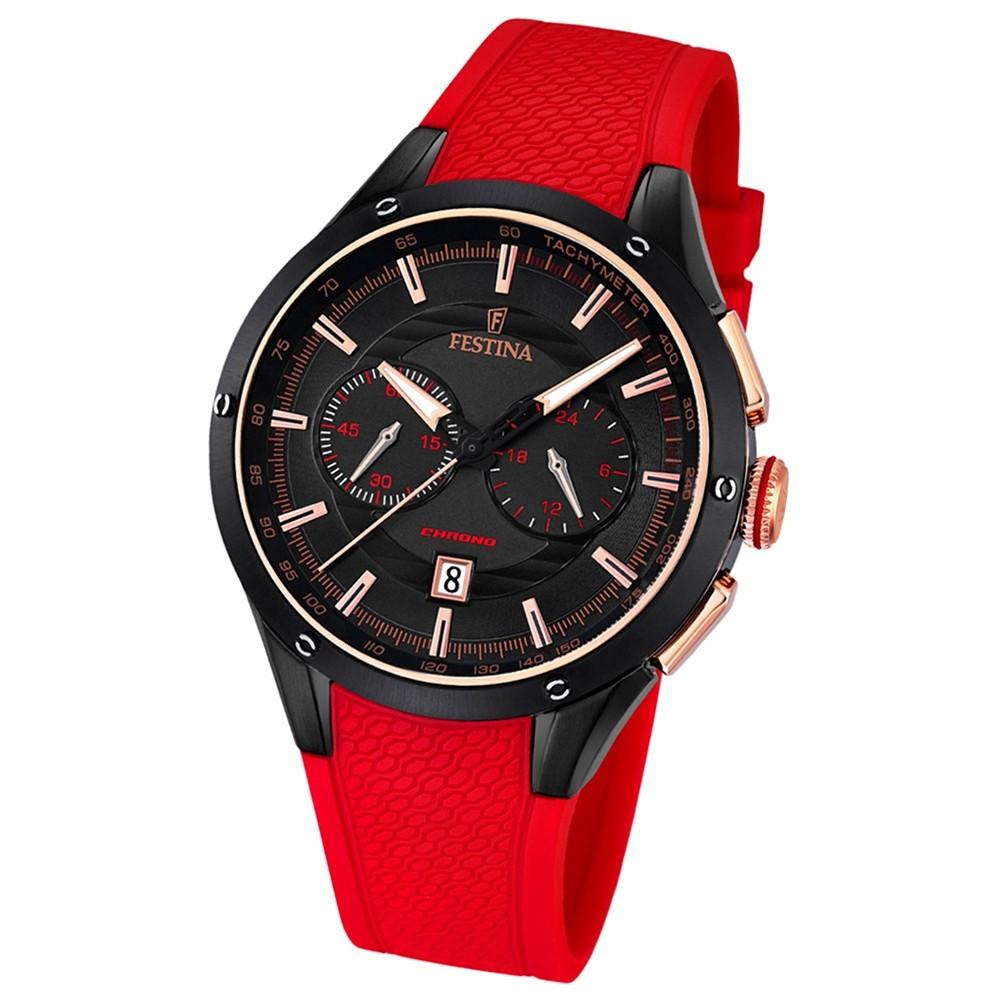 FESTINA Herren-Armbanduhr Sport Chronograph Analog Quarz PU rot UF16833/1