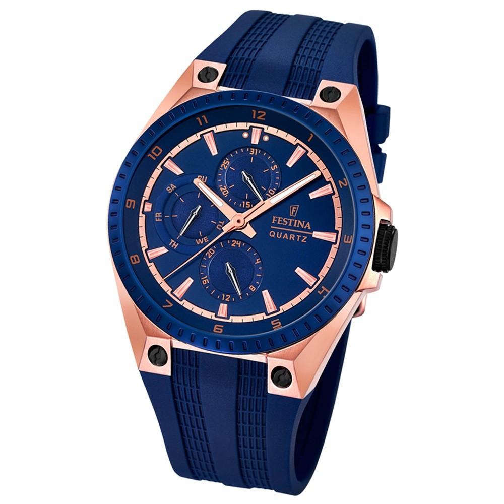 FESTINA Herren-Armbanduhr Sport Multifunktion Analog Quarz PU blau UF16835/2