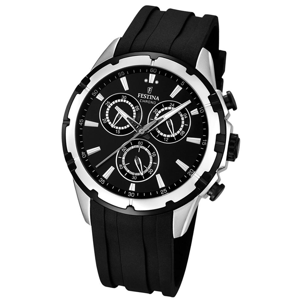 FESTINA Herrenuhr Timeless Chronograph Analog Quarz Uhr PU schwarz UF16838/2