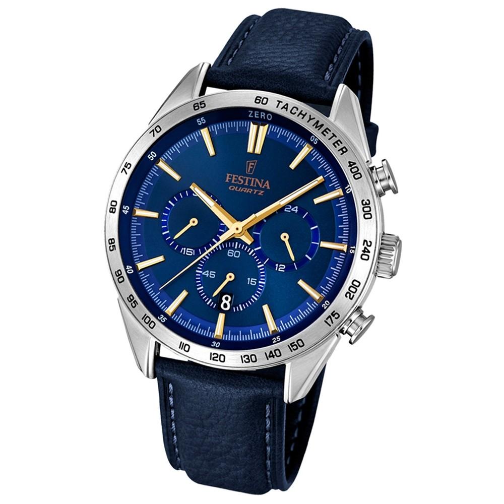 FESTINA Herren-Armbanduhr Timeless Chronograph Quarz Leder blau UF16844/2