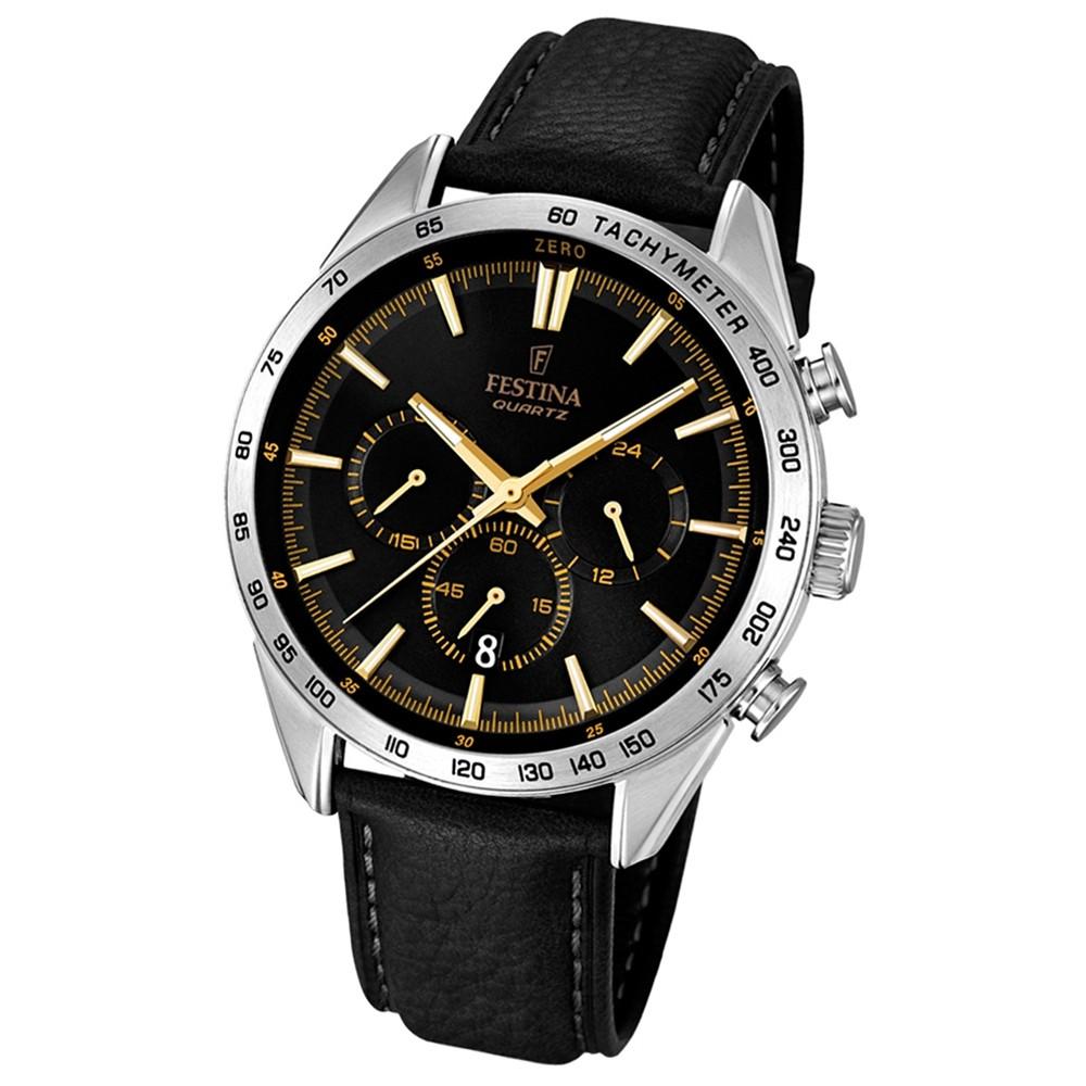 FESTINA Herren-Armbanduhr Timeless Chronograph Quarz Leder schwarz UF16844/3