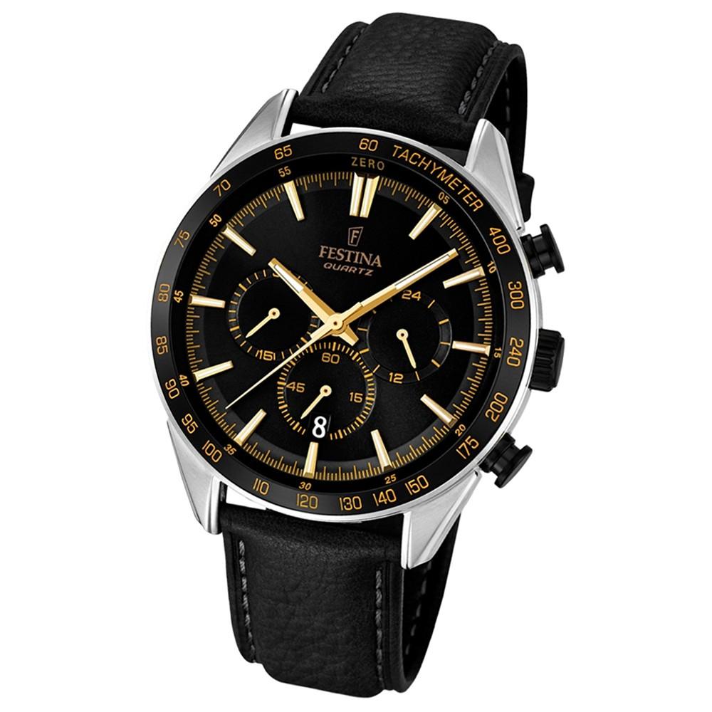 FESTINA Herren-Armbanduhr Timeless Chronograph Quarz Leder schwarz UF16844/4