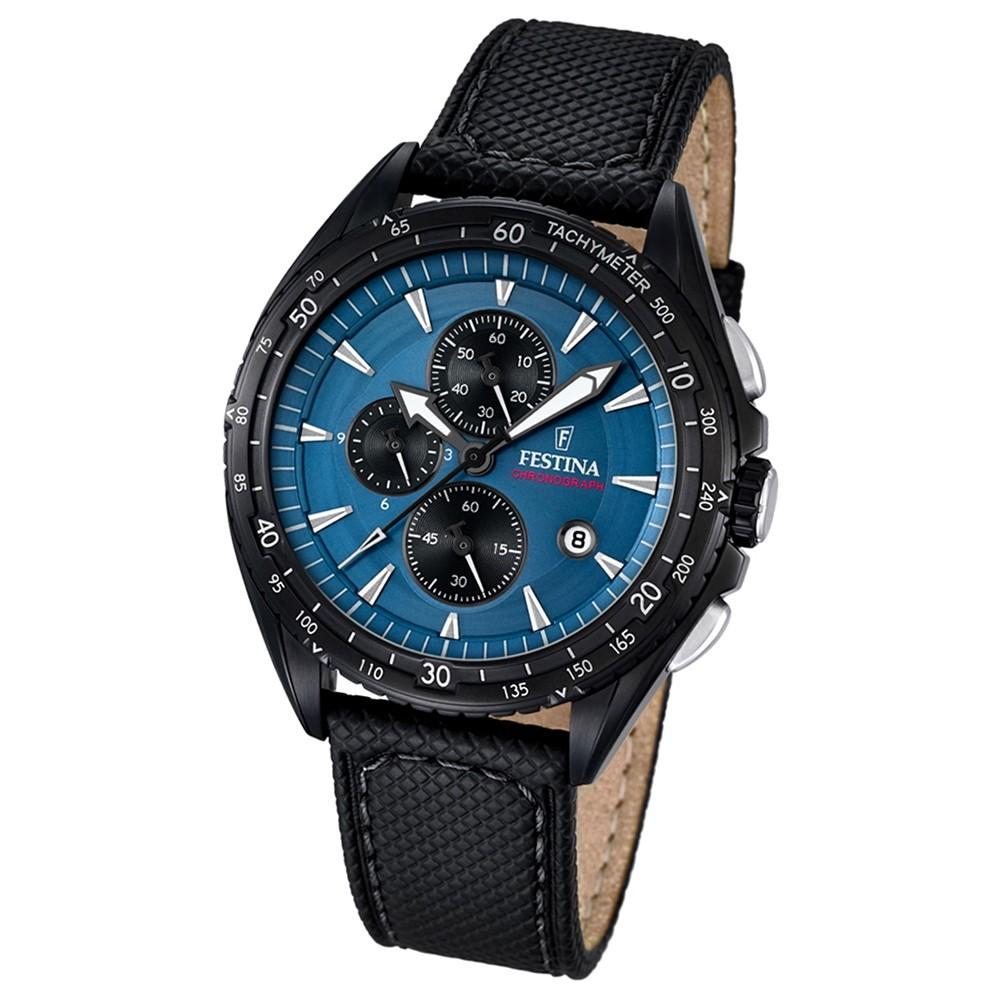 FESTINA Herren-Uhr Sport Analog Quarz Leder schwarz Chronograph UF16847/3