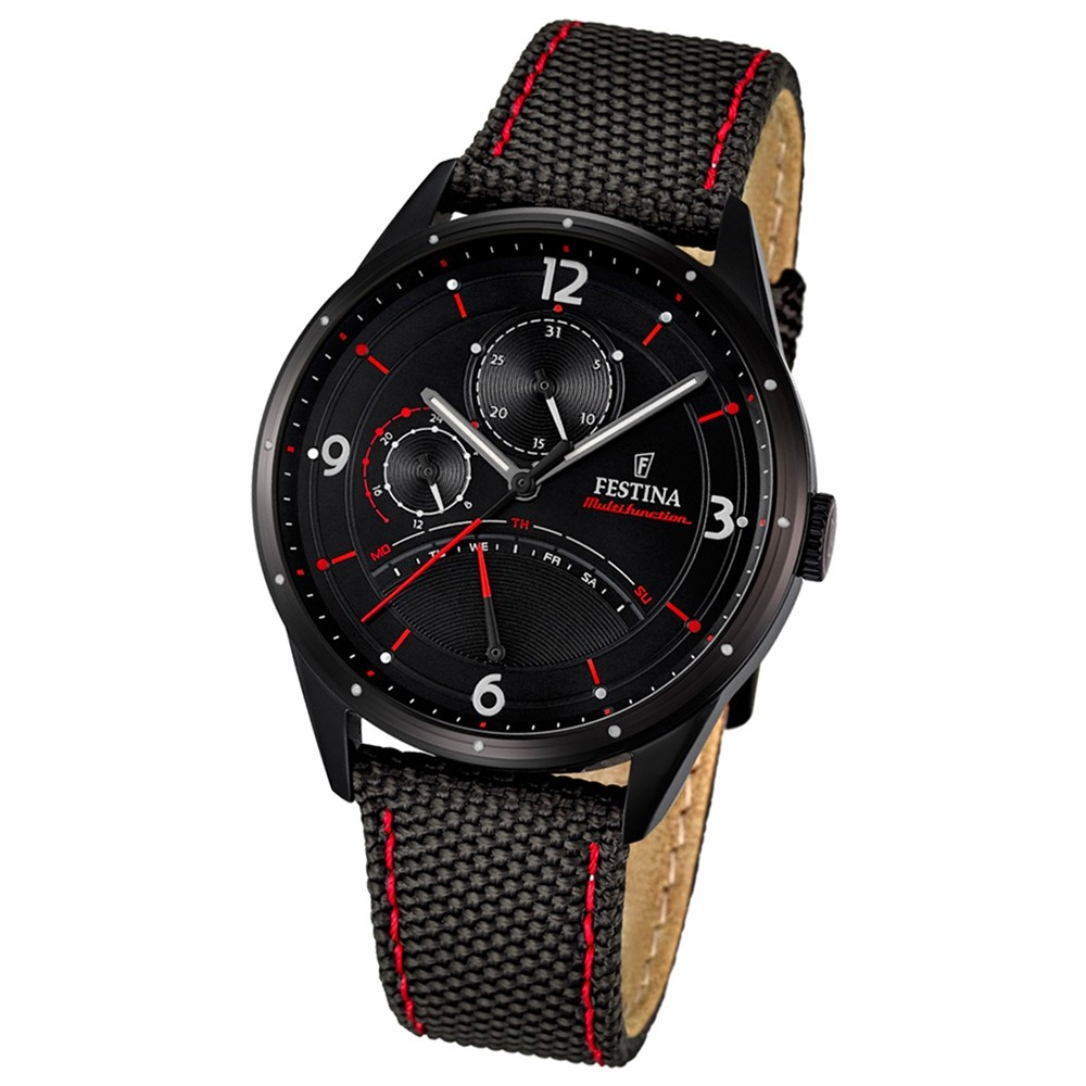 FESTINA Herren-Armbanduhr Retrograde Analog Quarz Leder/Textil schwarz UF16849/2