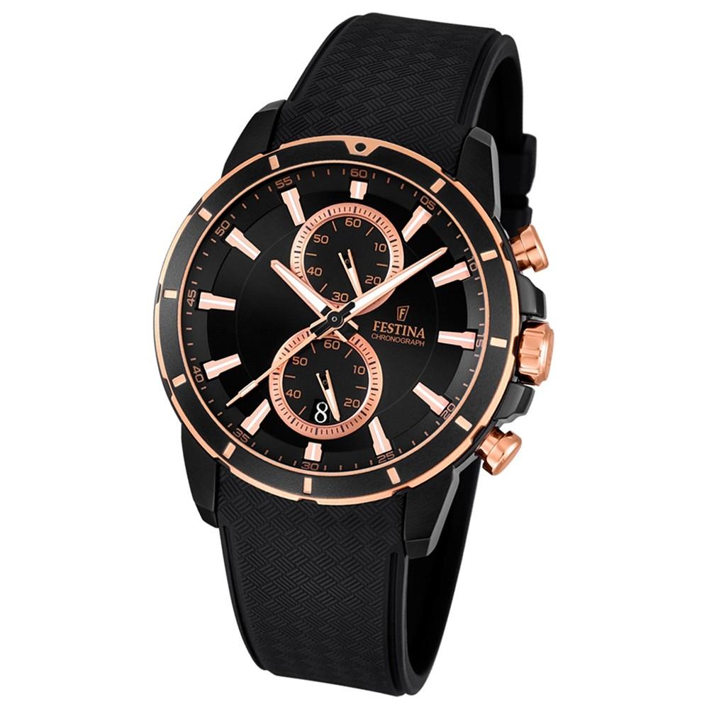 FESTINA Herren-Armbanduhr Chronograph Sport Quarz PU schwarz UF16852/1