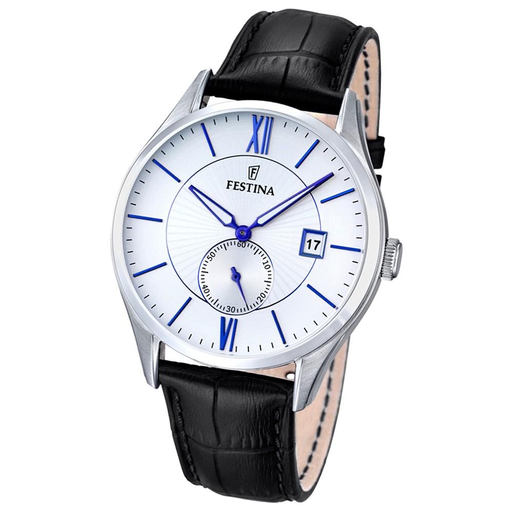 FESTINA Herren-Armbanduhr Retrograde Analog Quarz Leder schwarz UF16872/1