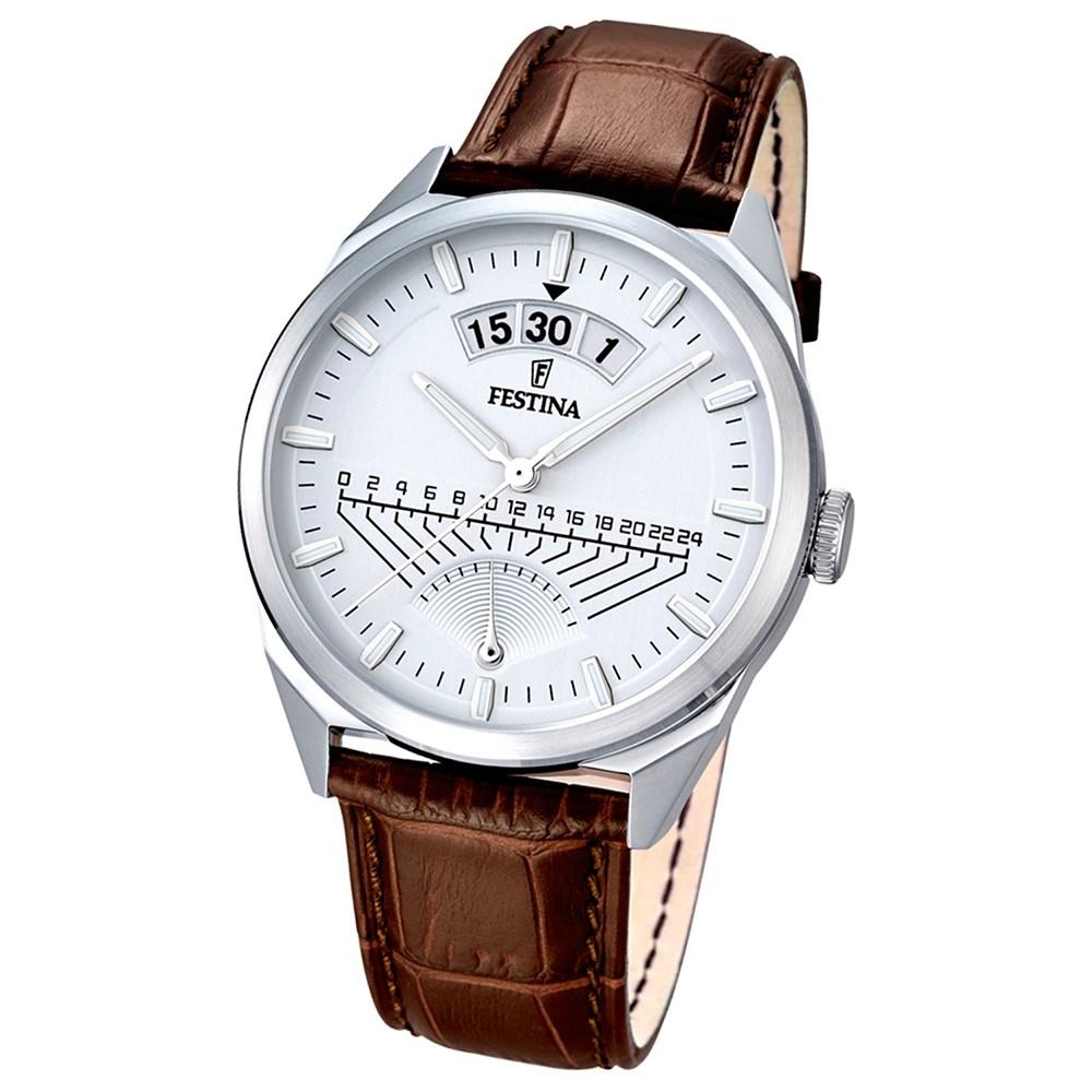 FESTINA Herren-Armbanduhr Retrograde Analog Quarz Leder braun UF16873/1