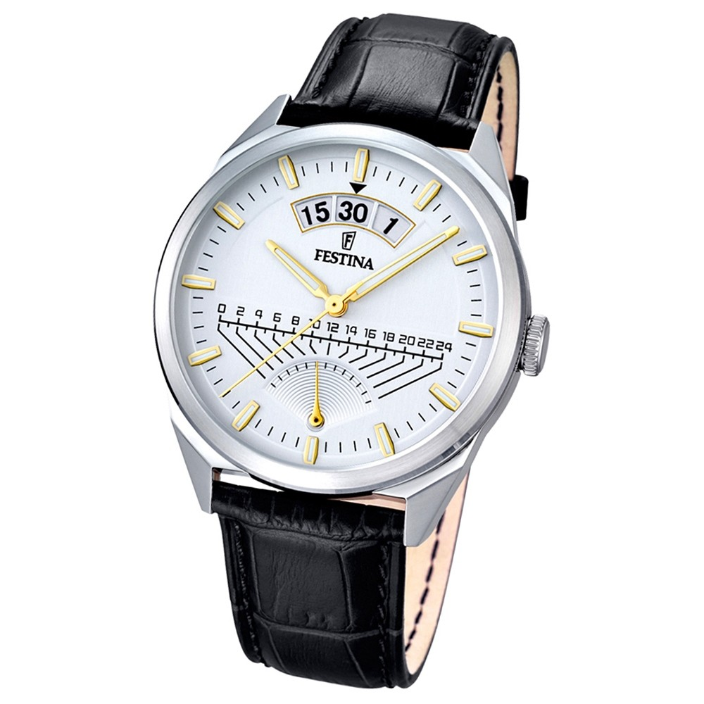 FESTINA Herren-Armbanduhr Retrograde Analog Quarz Leder schwarz UF16873/2
