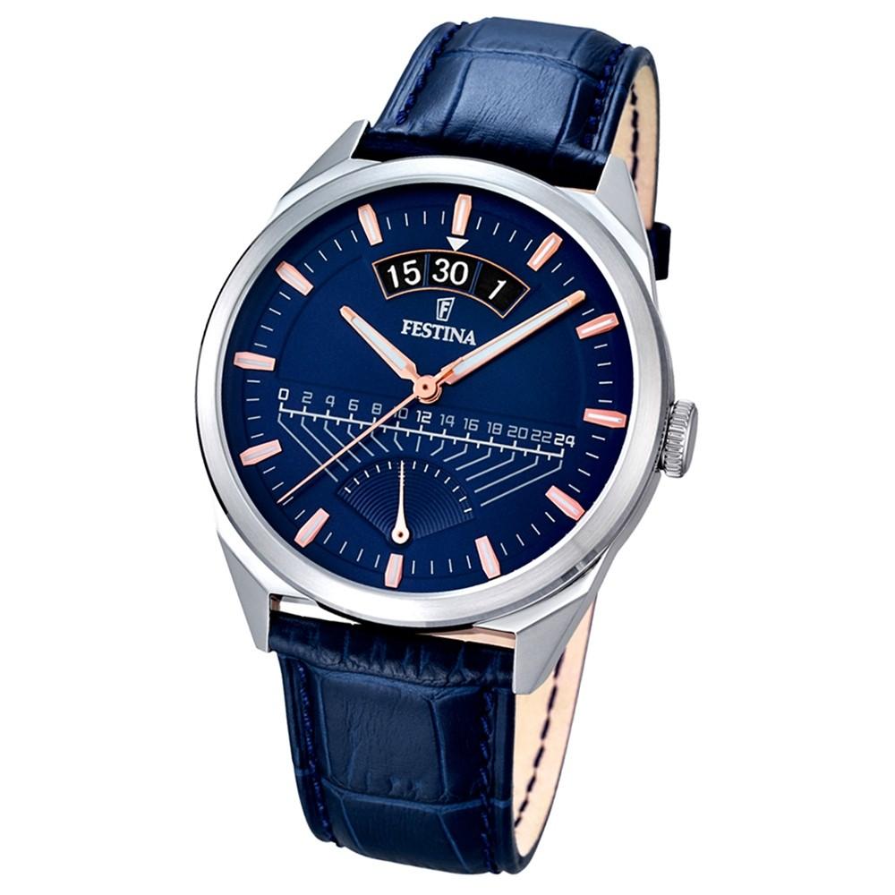 FESTINA Herren-Armbanduhr Retrograde Analog Quarz Leder blau UF16873/3