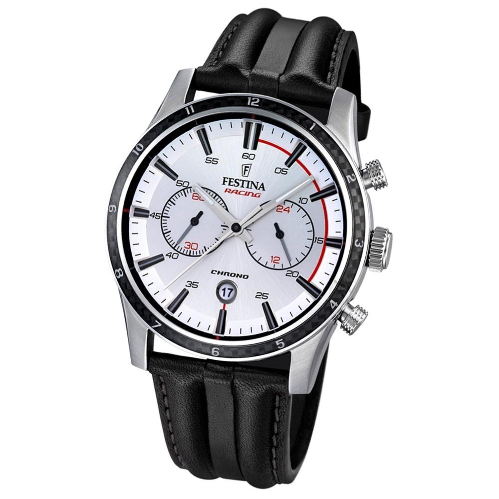 FESTINA Herren-Armbanduhr Timeless Chronograph Quarz Leder schwarz UF16874/1
