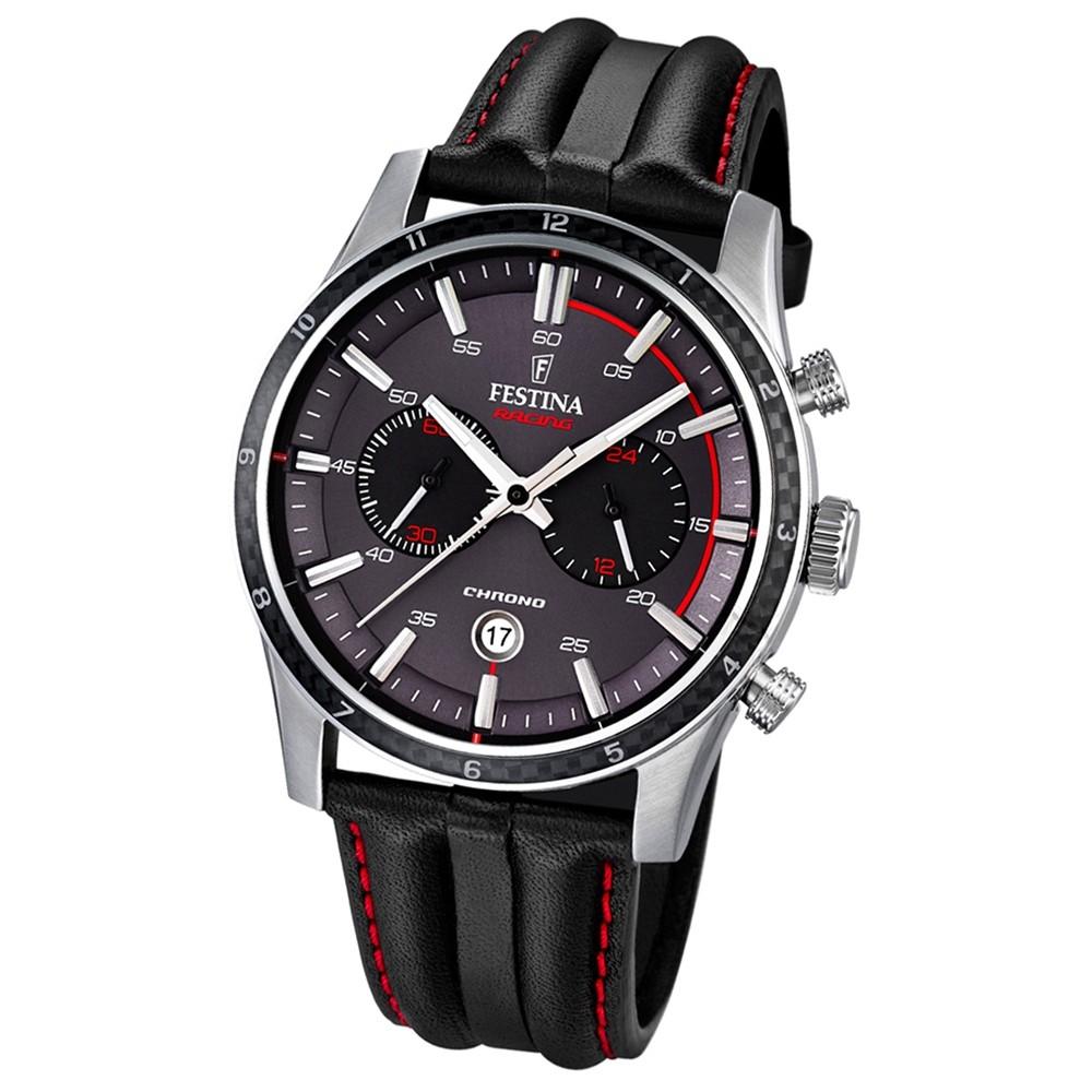 FESTINA Herren-Armbanduhr Timeless Chronograph Quarz Leder schwarz UF16874/3