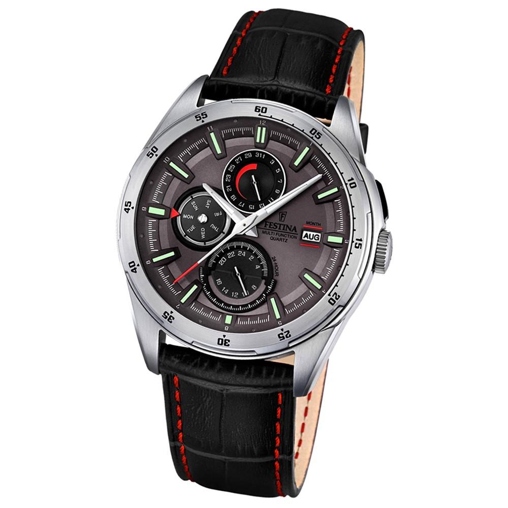 Festina Herren-Armbanduhr Multifunktion analog Quarz-Uhr Leder schwarz UF16877/3