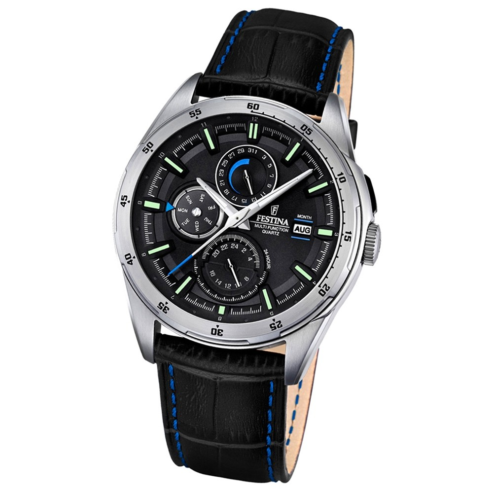Festina Herren-Armbanduhr Multifunktion analog Quarz-Uhr Leder schwarz UF16877/4