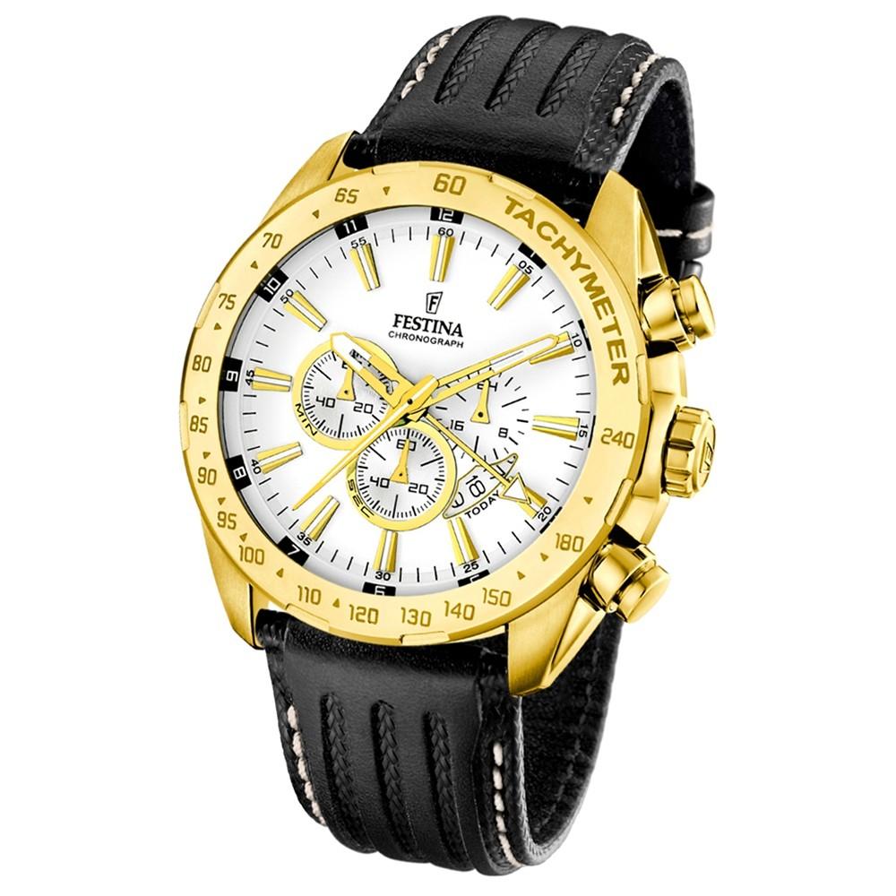 FESTINA Herren-Armbanduhr Chronograph Quarz Leder schwarz UF16879/1