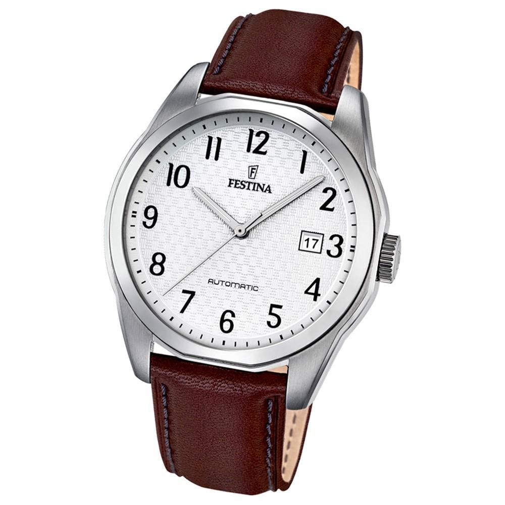 Festina Herren-Armbanduhr Retrograde analog Automatik-Uhr Leder braun UF16885/1