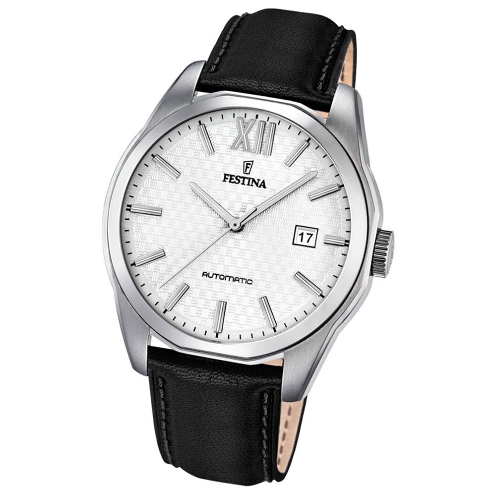 Festina Herren-Armbanduhr Retrograde analog Automatik Leder schwarz UF16885/2