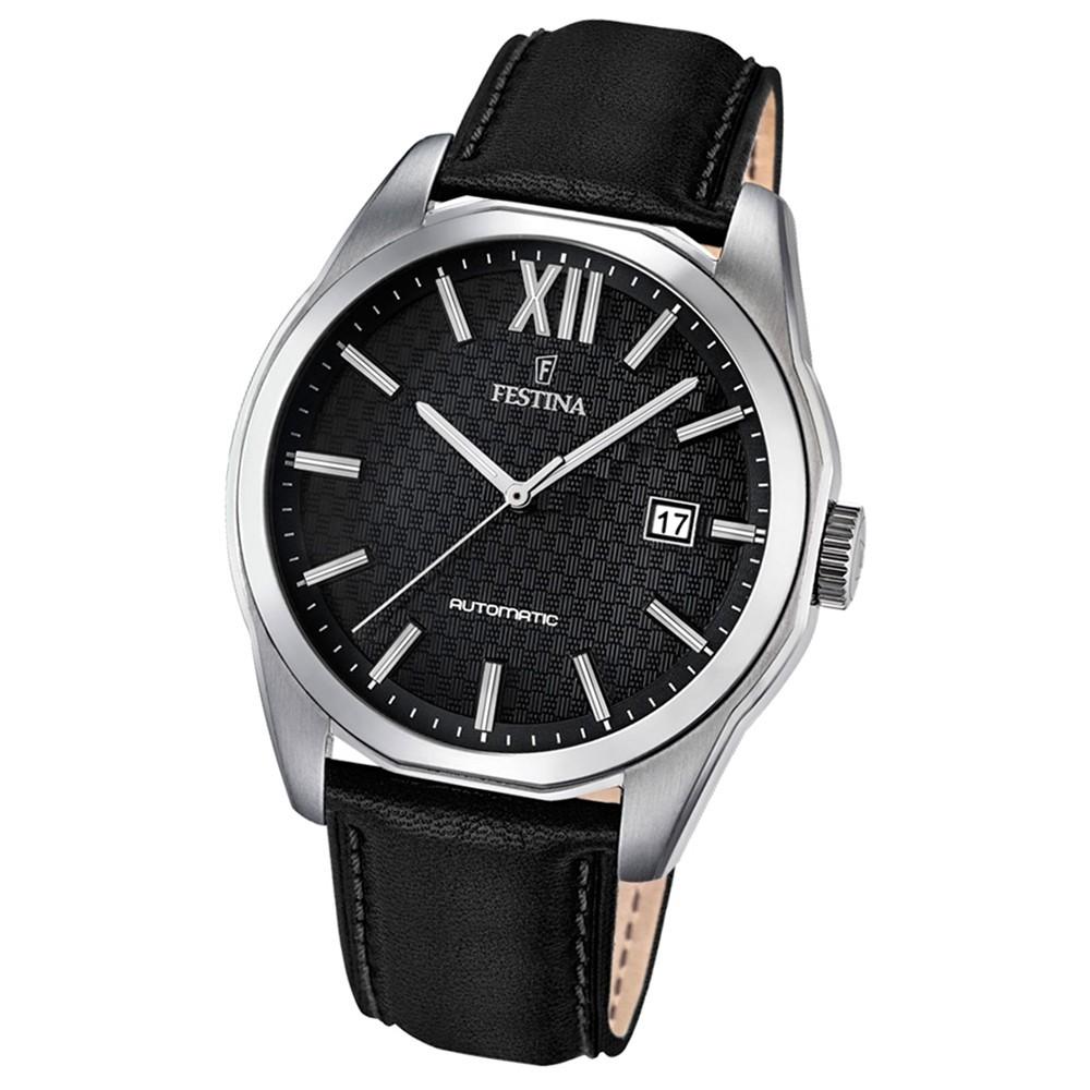 Festina Herren-Armbanduhr Retrograde analog Automatik Leder schwarz UF16885/4