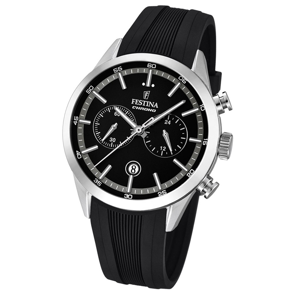 Festina Herren-Armbanduhr Timeless Khrono analog Quarz-Uhr PU schwarz UF16890/2