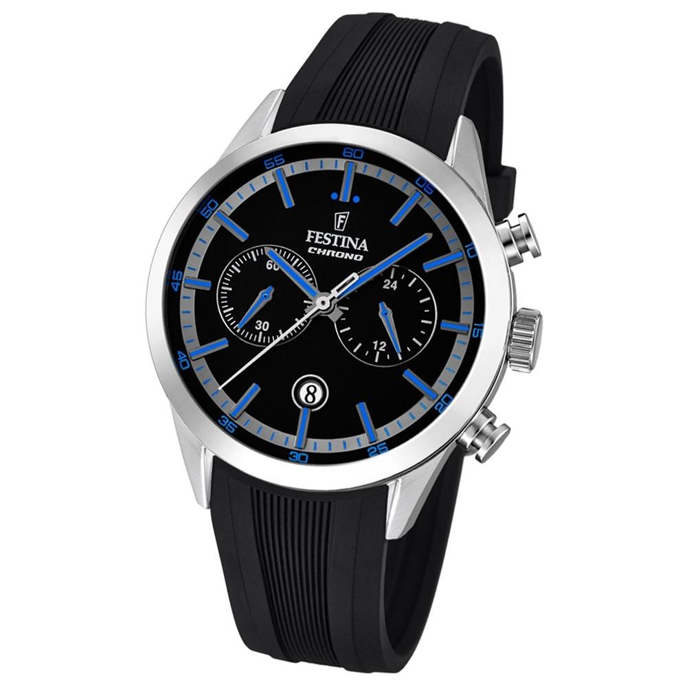 Festina Herren-Armbanduhr Timeless Khrono analog Quarz-Uhr PU schwarz UF16890/3