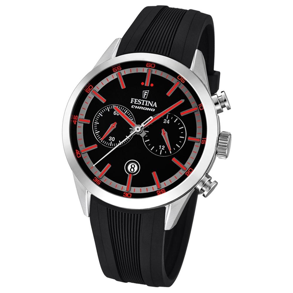 Festina Herren-Armbanduhr Timeless Khrono analog Quarz-Uhr PU schwarz UF16890/4