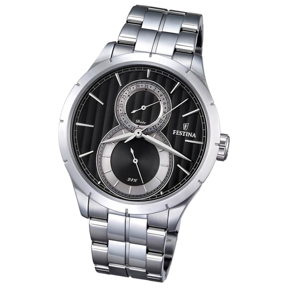 Festina Herren-Uhr schwarz Journees dAchats analog Quarz Edelstahl UF16891/6