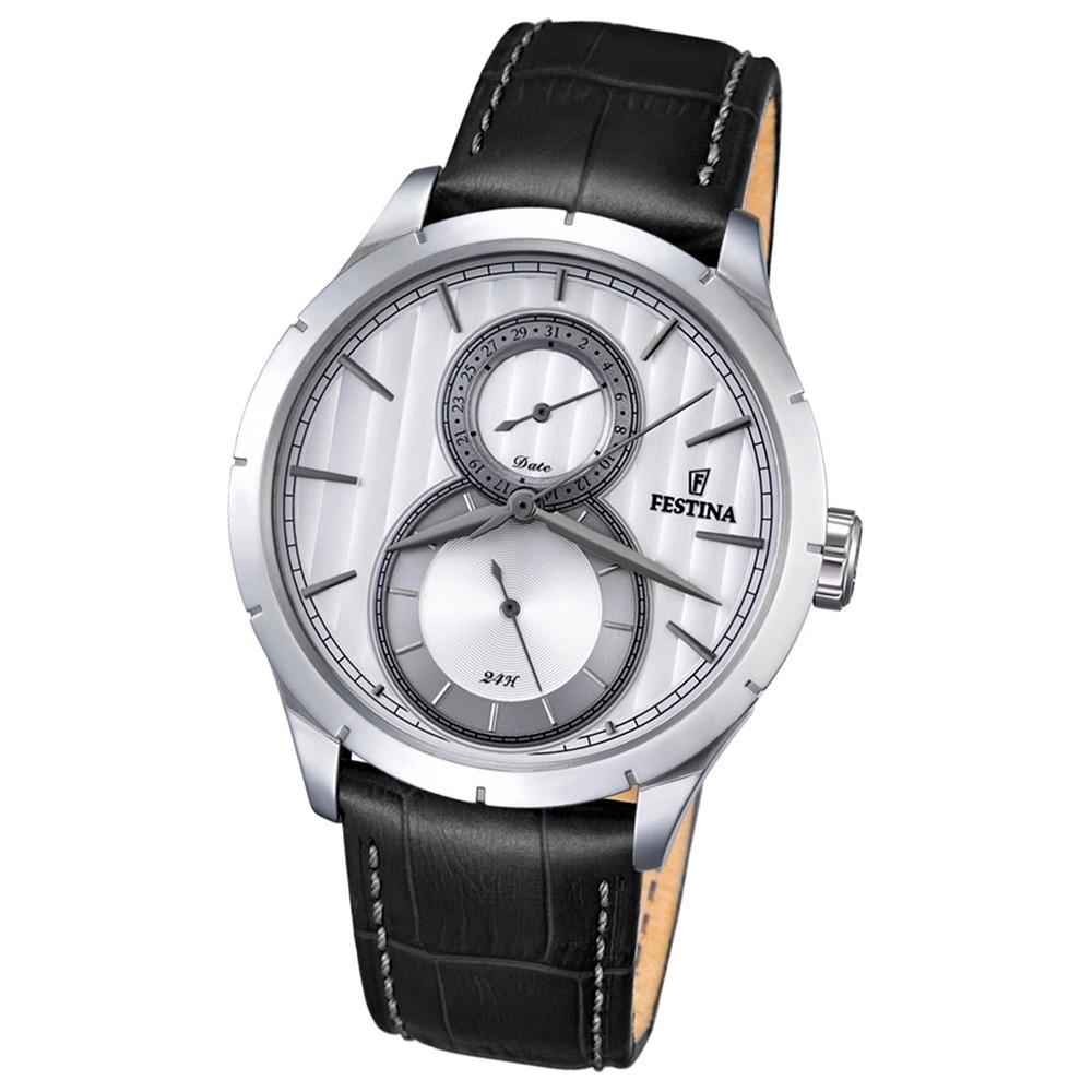 Festina Herren-Armbanduhr Journees dAchats analog Quarz Leder schwarz UF16892/1