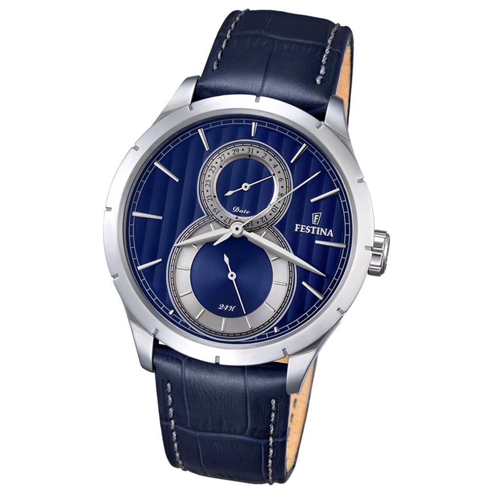 Festina Herren-Armbanduhr Journees dAchats analog Quarz Leder blau UF16892/3