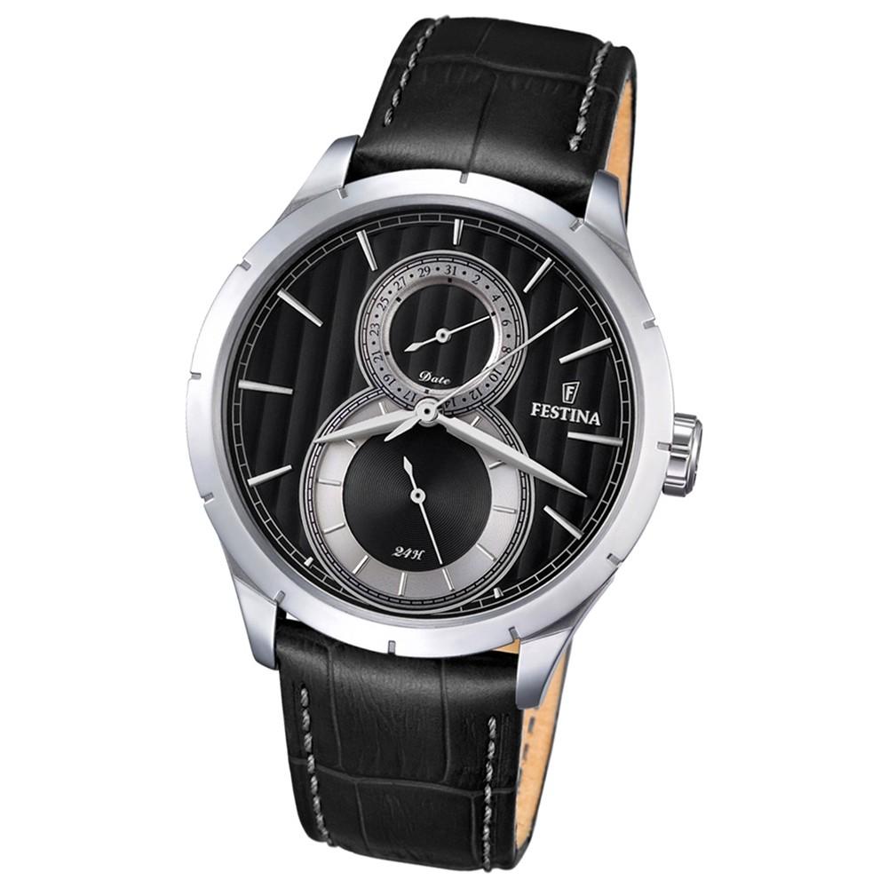 Festina Herren-Armbanduhr Journees dAchats analog Quarz Leder schwarz UF16892/6