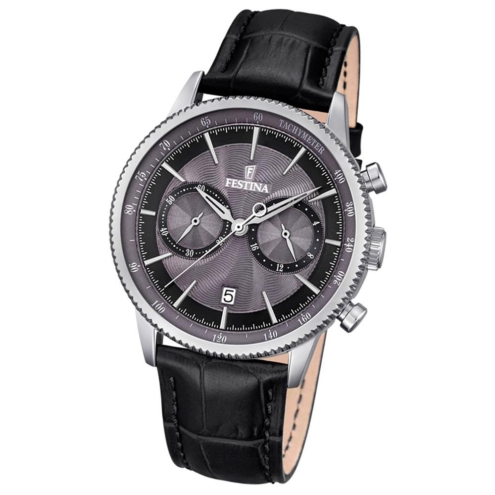Festina Herren-Armbanduhr Leder schwarz Journees dAchats analog Quarz UF16893/5