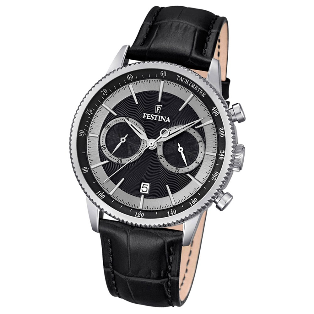 Festina Herren-Armbanduhr Leder schwarz Journees dAchats analog Quarz UF16893/8