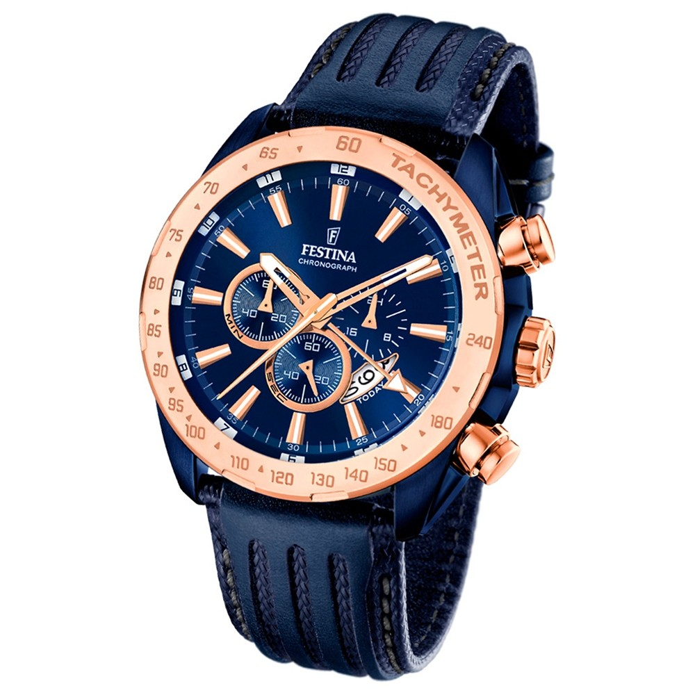 Festina Herren-Armbanduhr Special Edition Chronograph Leder dunkelblau UF16897/1