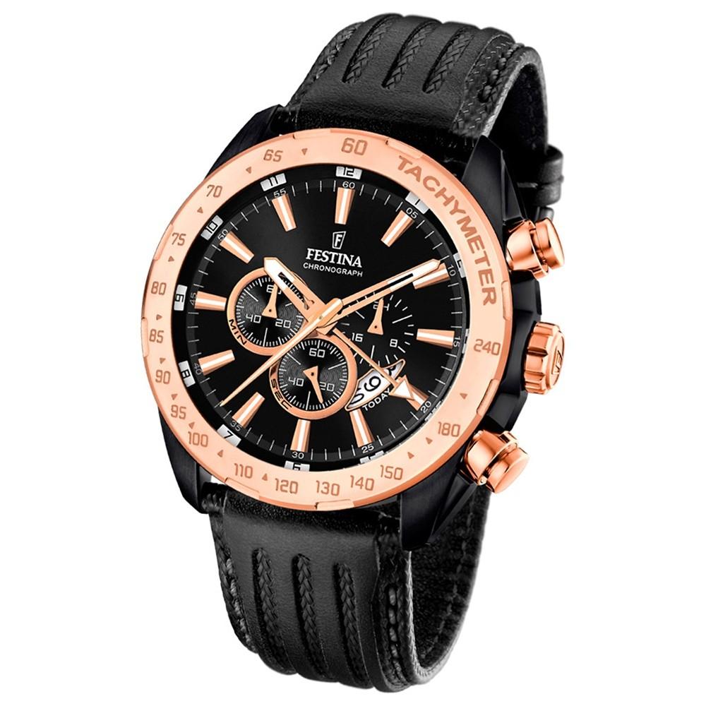 Festina Herren-Armbanduhr Special Edition Chronograph Leder schwarz UF16899/1