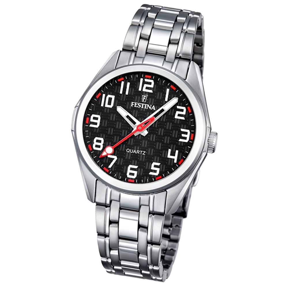 Festina Kinder Jugend-Uhr Junior analog Quarz Edelstahl schwarz-rot UF16903/3