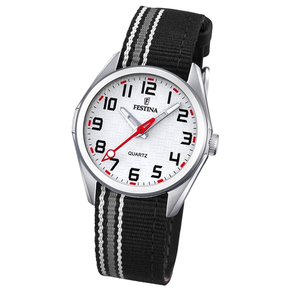 Festina Kinder Jugend-Uhr Junior analog Quarz Leder Textil schwarz UF16904/1