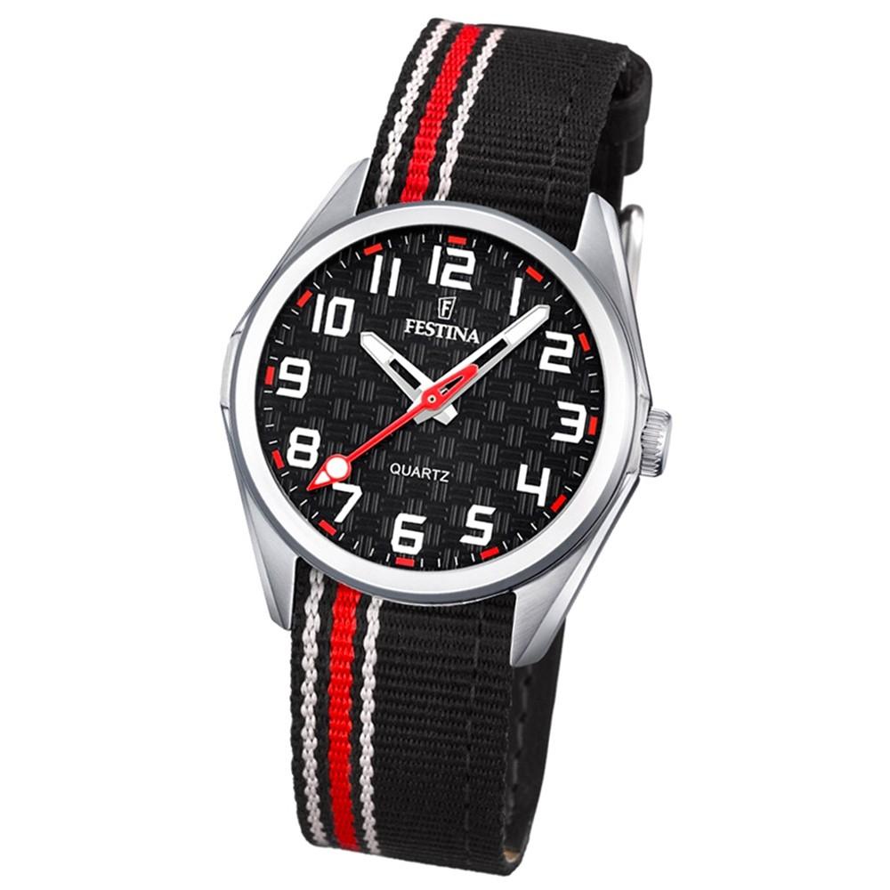 Festina Kinder Jugend-Uhr Junior analog Quarz Leder Textil rot-schwarz UF16904/3