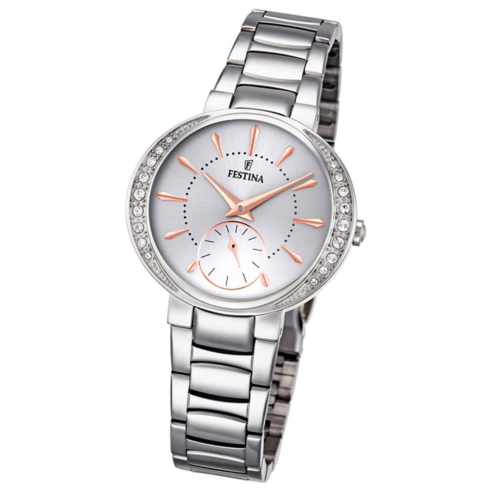 Festina Damen-Armbanduhr Mademoiselle analog Quarz Edelstahl silber UF16909/1