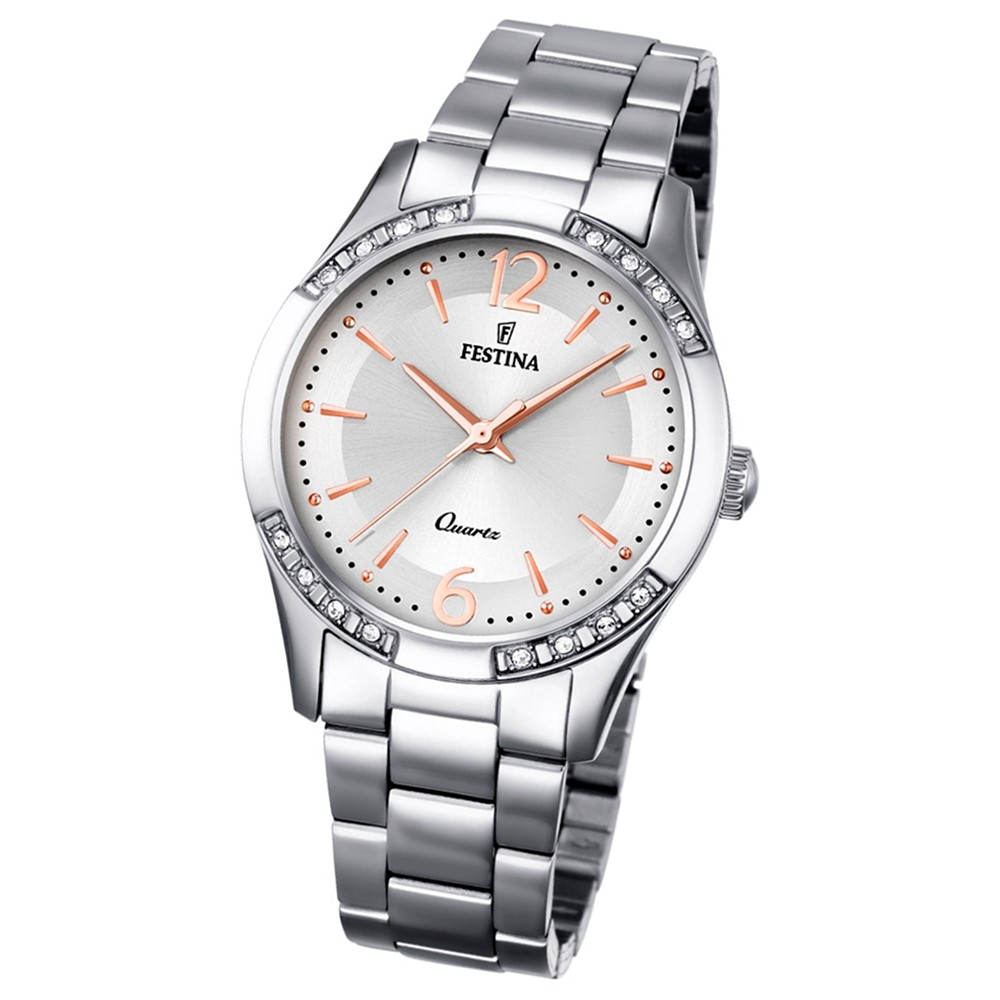 Festina Damen-Armbanduhr Boyfriend analog Quarz Edelstahl silber UF16913/1