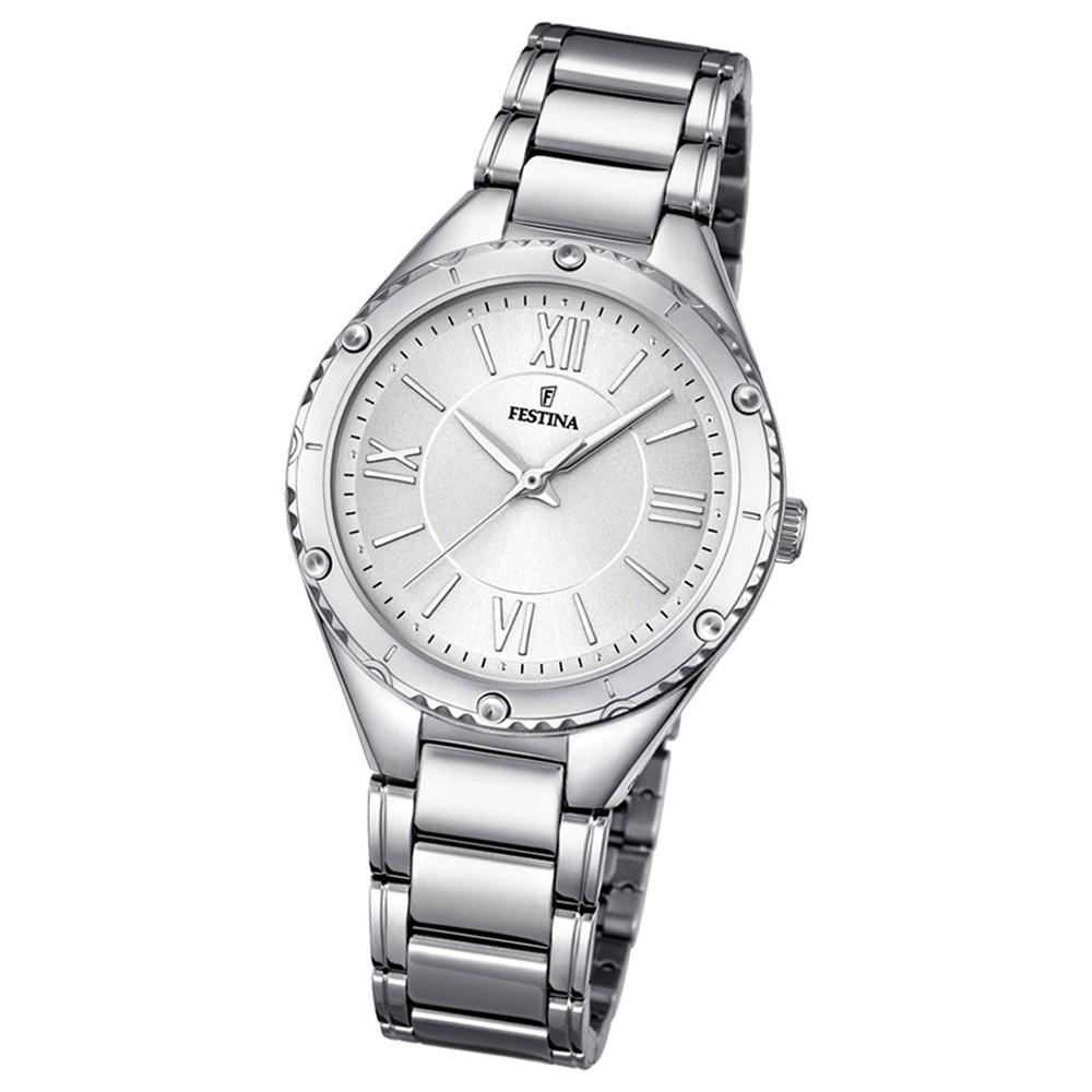 Festina Damen-Uhr silber Journees dAchats analog Quarz Edelstahl UF16921/1