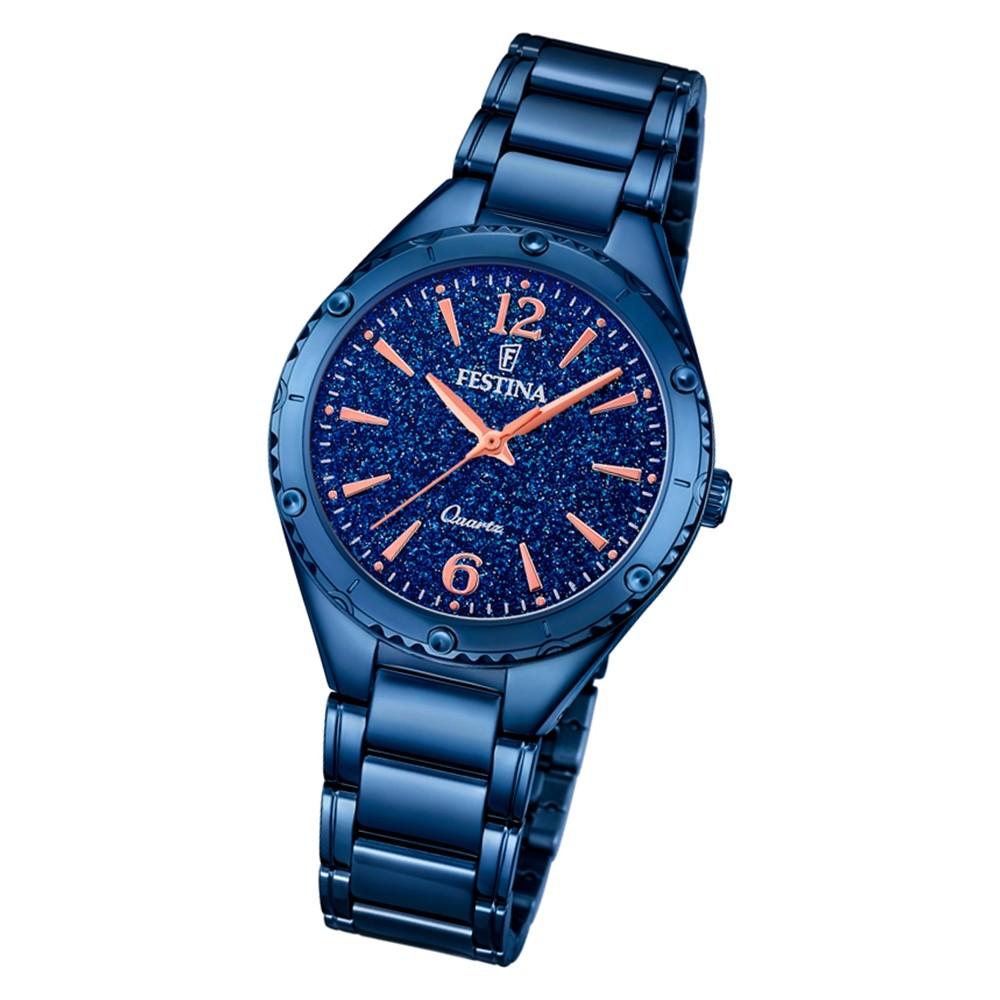 Festina Damen Armbanduhr Ladies Only F16923/4 Quarz Edelstahl blau UF16923/4