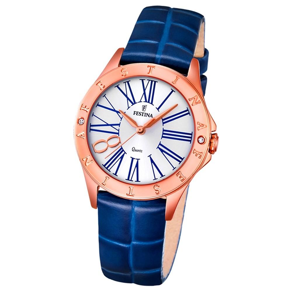 Festina Damen-Armbanduhr Journees dAchats analog Quarz Leder blau UF16930/1