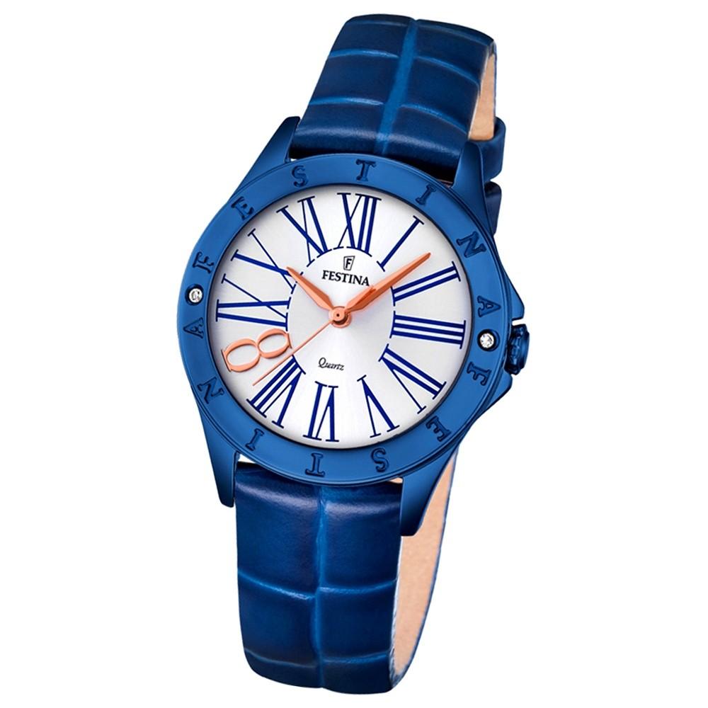 Festina Damen-Armbanduhr Journees dAchats analog Quarz Leder blau UF16931/1