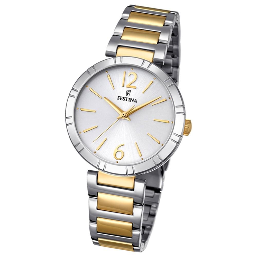 Festina Damen-Uhr Mademoiselle analog Quarz Edelstahl silber gold UF16937/1